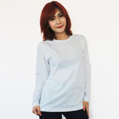 เสื้อยืดแขนยาวสีขาว ผ้าคอทตอน#32ไซส์XXL
