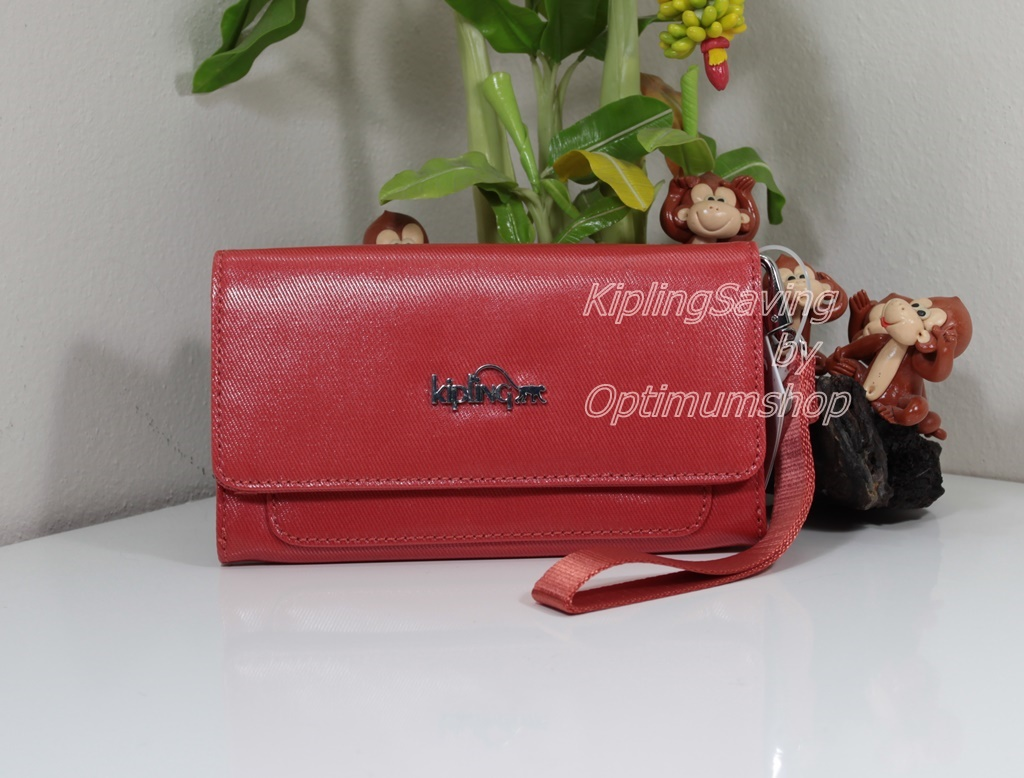 Kipling Walden Cool Orange กระเป๋าสตางค์ใบยาวมาพร้อมสายคล้องมือ ขนาด 7.5 L x 4.5 H x 1 W นิ้ว