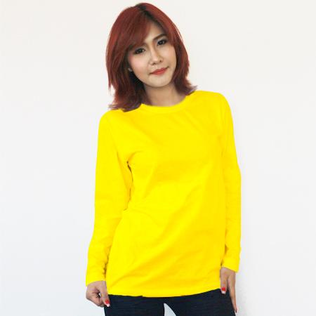 เสื้อยืดแขนยาวสีเหลือง ผ้าคอทตอน#32ไซส์L
