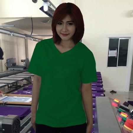เสื้อยืดคอวี สีเขียวไมโล รอบอก 36 นิ้ว เบอร์ M