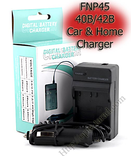 Home + Car Battery Charger For Olympus FNP45/40B/42B