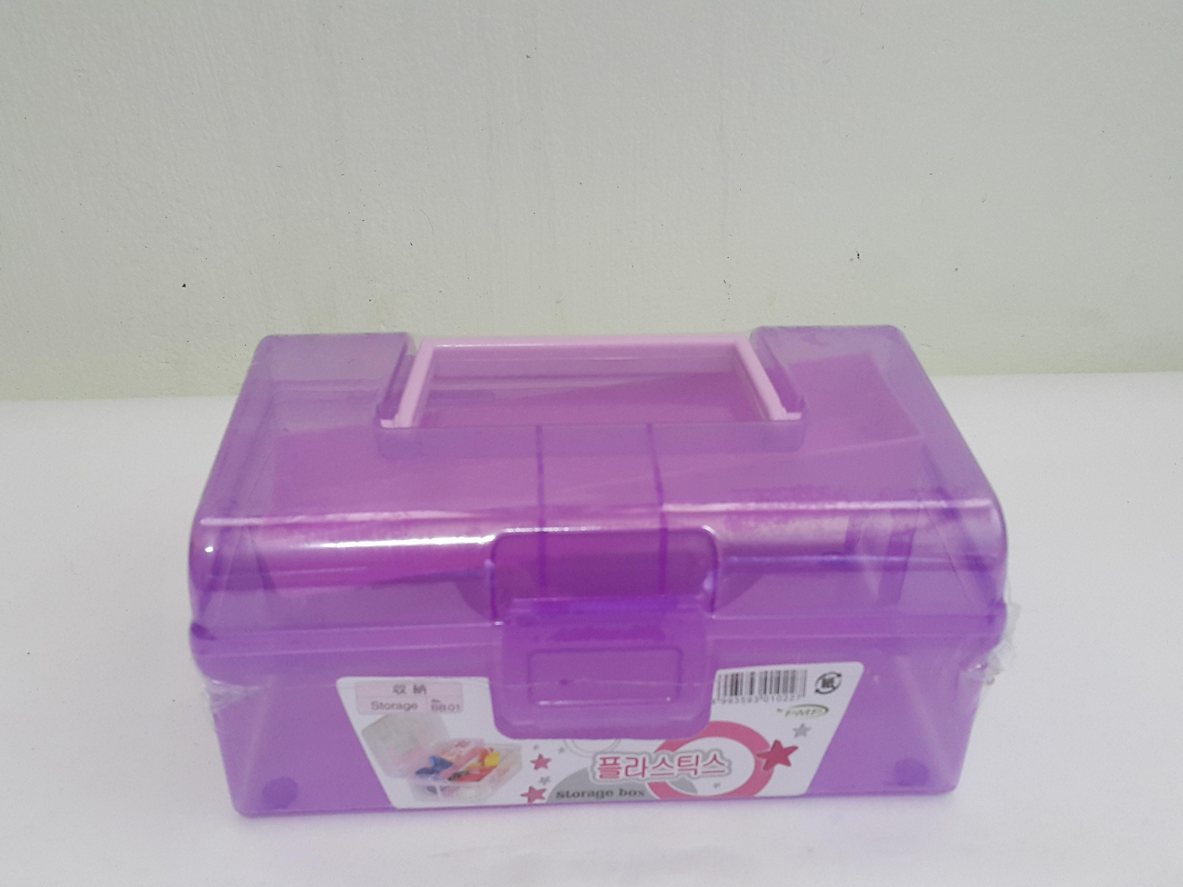 กล่องพลาสติกมีหูหิ้ว สีม่วง (A003)