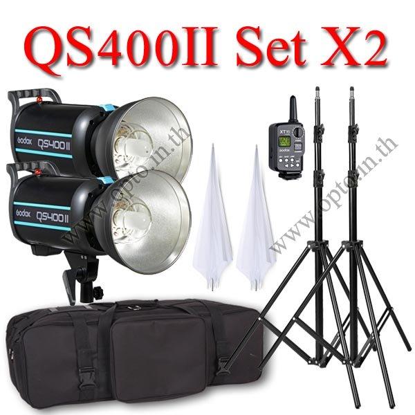 QS400II Setx2 400W Pro Flash Godox StudioSet + Wireless Trger 2.4Ghz ชุดแฟลชสตูดิโอปรับกำลังไร้สาย