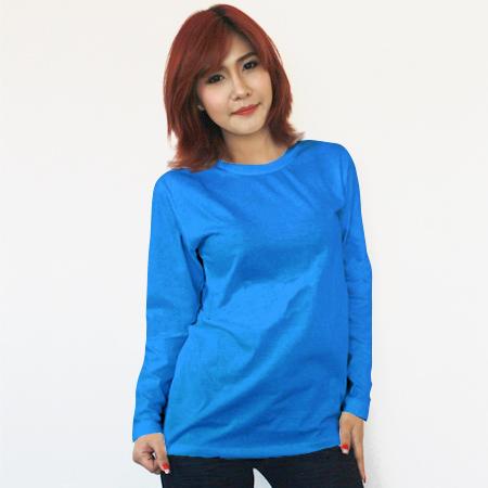 เสื้อยืดแขนยาวสีฟ้าทะเล ผ้าคอทตอน#32ไซส์S