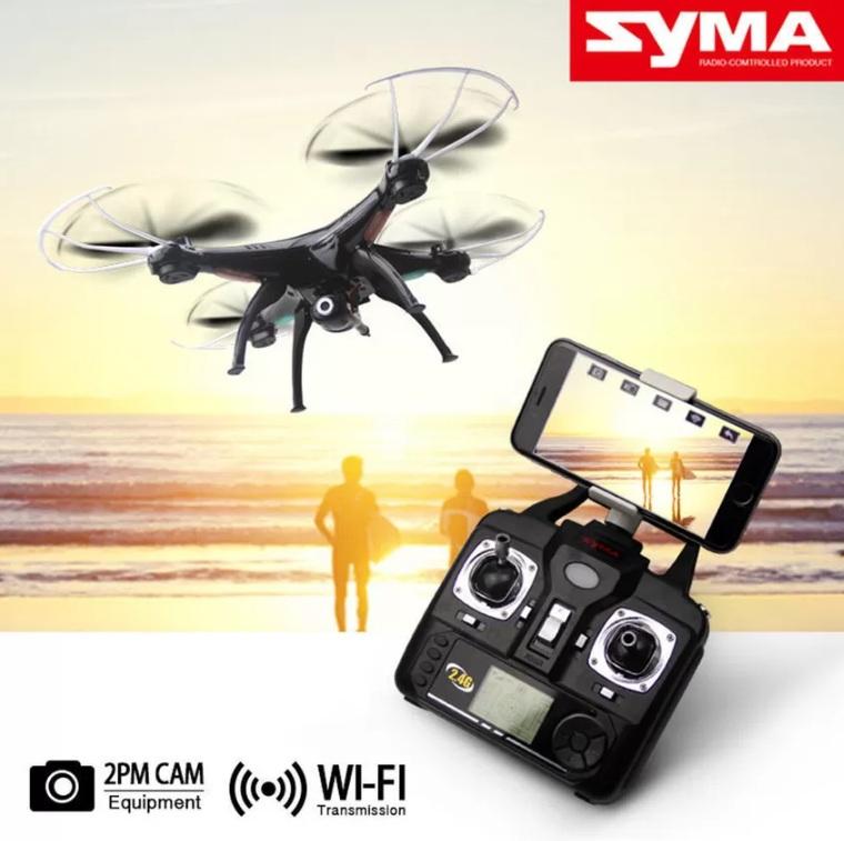 โดรนติดกล้อง ราคาถูก เซื่อมต่อมือถือได้ Syma X5SW Quadcopter สีดำ กล้องชัด 720P