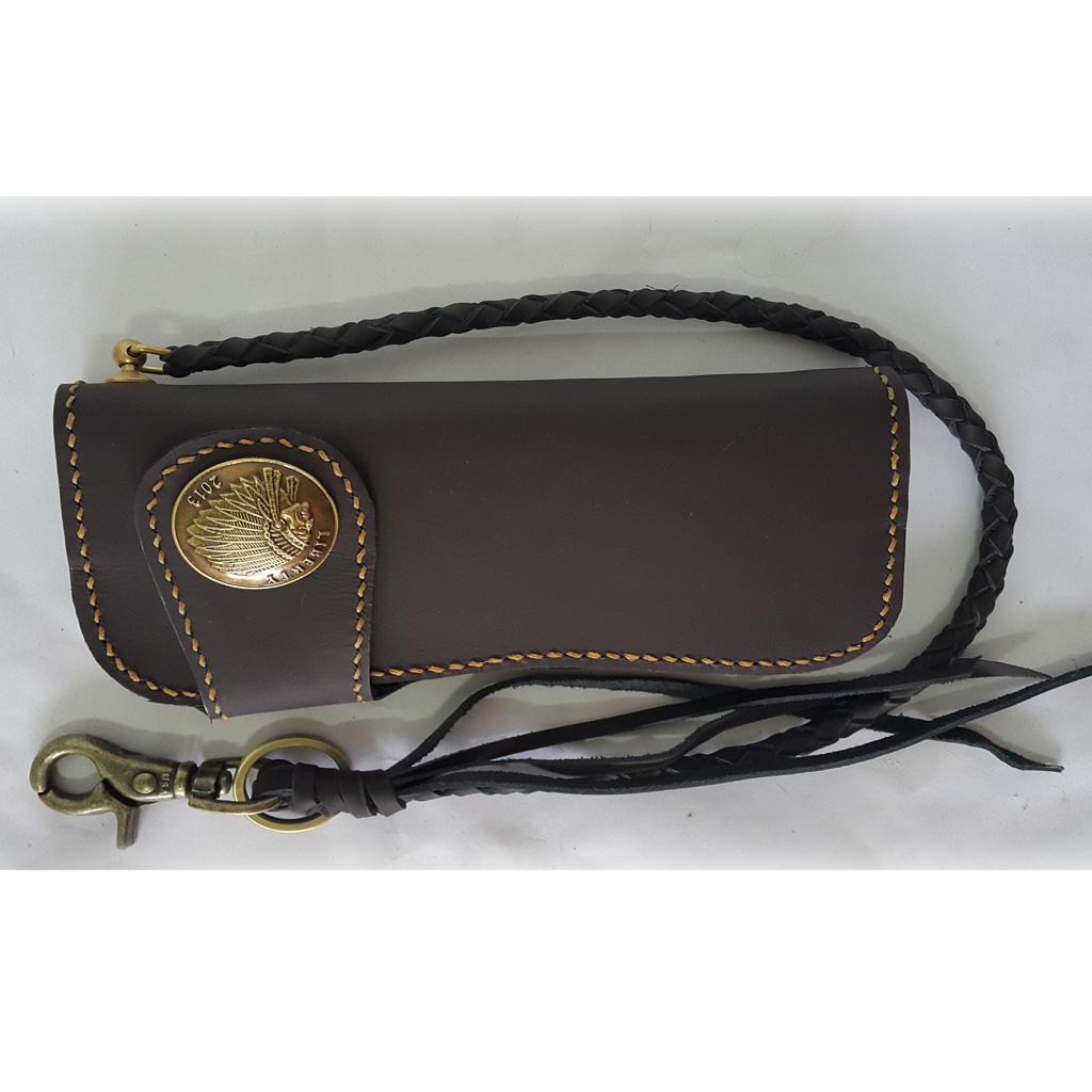 กระเป๋าสตางค์หนังแท้ สีน้ำตาล ใบยาว พร้อมสาย แบบที่1