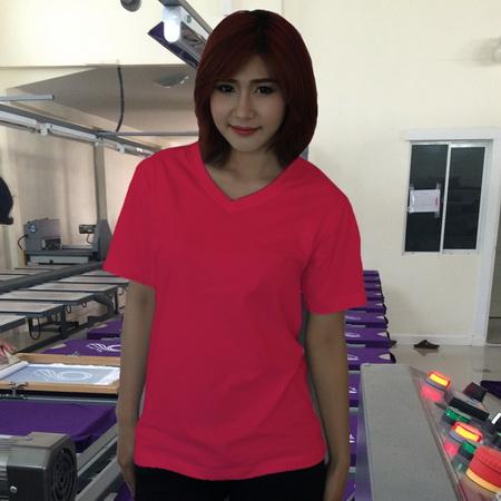 เสื้อยืดคอวี สีชมพูเข้ม รอบอก 36 นิ้ว เบอร์ M