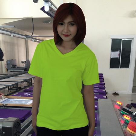 เสื้อยืดคอวี สีเขียวมะนาว รอบอก 32 นิ้ว เบอร์ S