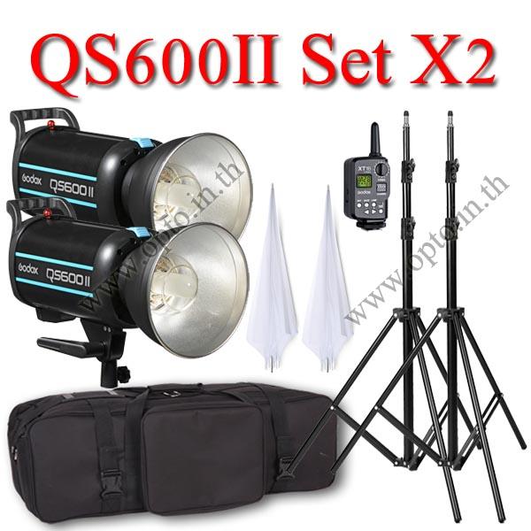 QS600II Setx2 600W Pro Flash Godox StudioSet + Wireless Trger 2.4Ghz ชุดแฟลชสตูดิโอปรับกำลังไร้สาย