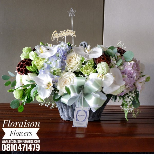 กระเช้าดอกไม้ โทนสีสุภาพ Earth tone (L)