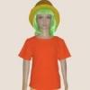 เสื้อยืดเด็กสีส้มสด ผ้าคอทตอน#32ไซส์L