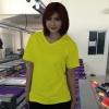 เสื้อยืดคอวี สีเหลือง รอบอก 32 นิ้ว เบอร์ S