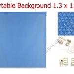 ฉากผ้าแบบติดผนังสีฟ้า 130x180cm. มาพร้อมขายึด+โซ่ม้วนผ้า(สามารถใช้งานได้ทันที)