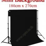 Mini Black Background Backdrop 180x270cm. Cotton for Chromakey ฉากถ่ายรูปภาพ