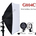 G804C With Softbox 50x70cm Digital Day light Lamp E27 Bulb x4 Holder