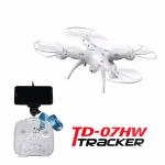 โดรนติดกล้อง (สีดำ) drone td07hw wifi ล็อคความสูงได้ เล่นง่ายมาก เหมาะสำหรับมือใหม่ มี wifi(Black)/(White)
