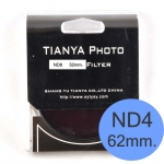 TIANYA Neutral Density ND 4 ND4 Filter 62mm.