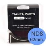 TIANYA Neutral Density ND 8 ND8 Filter 62mm.