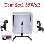 Photo Light Tent Kit Set2 35Wx2 Halogen Light + Camera Stand