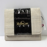 Kipling Thad Black Patent Linen Combo (ฺBlack Dazzling Beige) กระเป๋าสตางพับ 3 ตอน ขนาด 4.25 x 3.75 x 1 นิ้ว