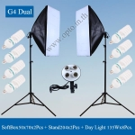 G4 Dual LightStand LG-190 + G804C Softbox 4xE27 50x70cm + Free 135Wx8 5500k Day Light ชุดไฟต่อเนื่อง