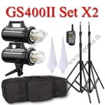 GS400II Set 400W X2 Flash Godox Studio Kit + Wireless Trigger 2.4Ghz ชุดแฟลชสตูดิโอปรับกำลังไร้สาย
