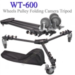 WT-600 3 Wheels Pulley Folding Camera Tripod Dolly Base Stand WEIFENG