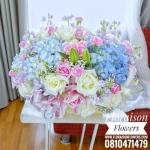 กล่องดอกไม้ ชมพูฟ้า พาสเทล (L)