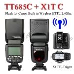 TT685C Godox Flash Speedlight for Canon ETTL II+ TTL Wireless Trigger X1T-C TT685แฟลชหัวค้อนแคนนอน