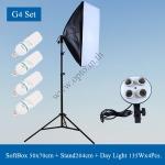 G4 Light Stand LG-190 + G804C Softbox 4xE27 50x70cm + Free 135Wx4 5500k Day Light ชุดไฟต่อเนื่อง