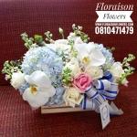 กล่องดอกไม้ ฟ้า ขาว พาสเทล (M)