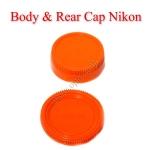 Orange Color Body Rear Lens Cap For Nikon ฝาปิดบอดี้และฝาปิดท้ายเลนส์นิคอนสีส้ม