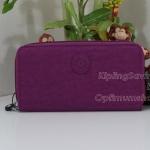 Kipling Clarissa Purple Raisin เป็นกระเป๋าสตางค์ใบยาวแบบซิปรอบ ขนาด 7.5x 4 x 0.875 นิ้ว