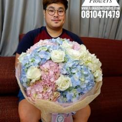 ช่อดอกไม้ สีพาสเทล ชมพู ฟ้า (XL)
