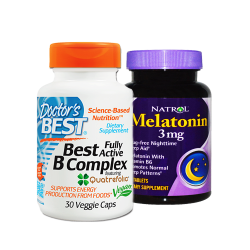 Doctor's Best, Best Fully Active B Complex, 30 Veggie Caps + MELATONIN 3MG PLUS