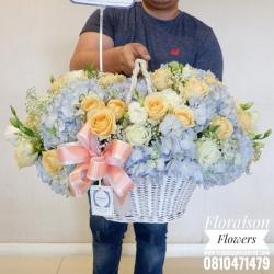 กระเช้าดอกไม้ ฟ้า พาสเทล (XL)