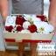 กล่องดอกไม้ กุหลาบแดง ขาว แบบฝาครอบ (M) thumbnail 2