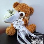 ตุ๊กตาหมี กอดช่อกุหลาบขาว (L)
