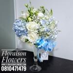 แจกันดอกไม้ ฟ้า ขาว (L)