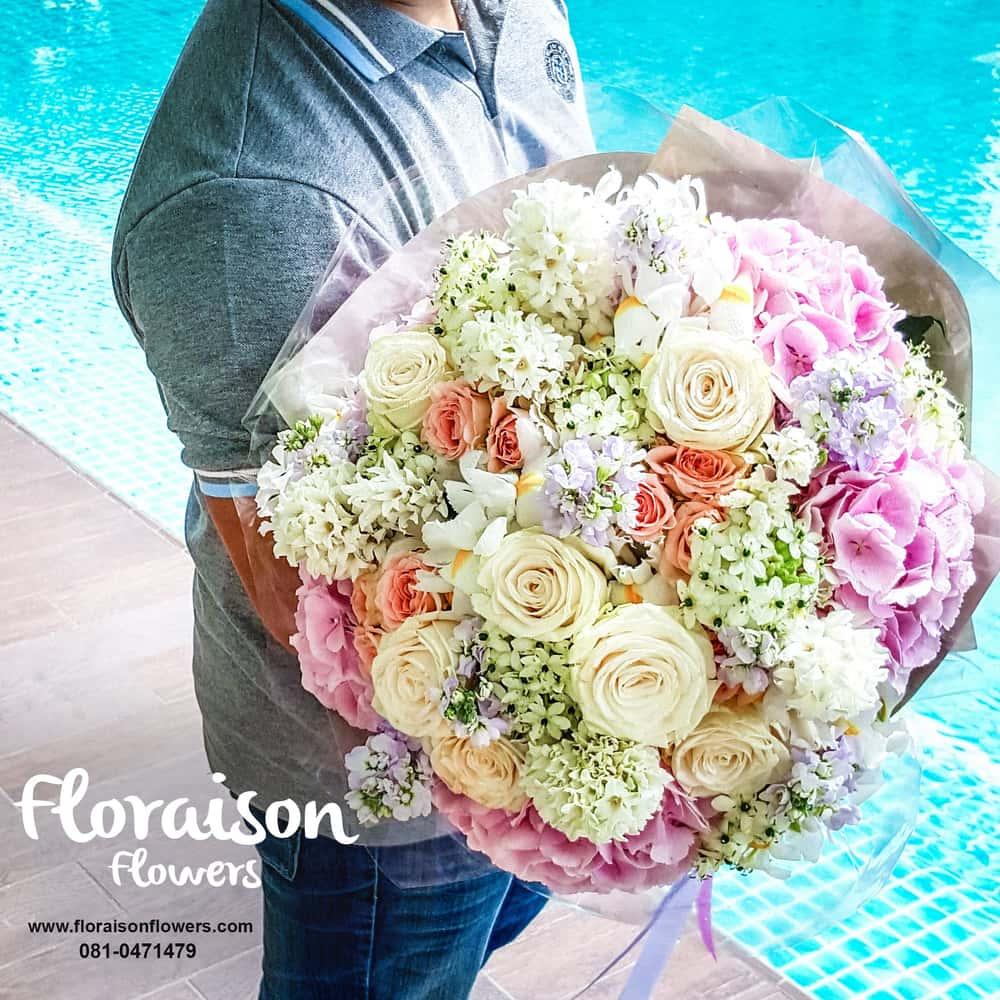 ช่อดอกไม้ กุหลาบฮอลแลนด์ ไฮเดรนเยีย พาสเทล PREMIUM