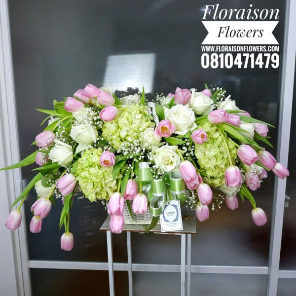 กระเช้าดอกไม้ แสดงความยินดี ทิวลิป (XL)