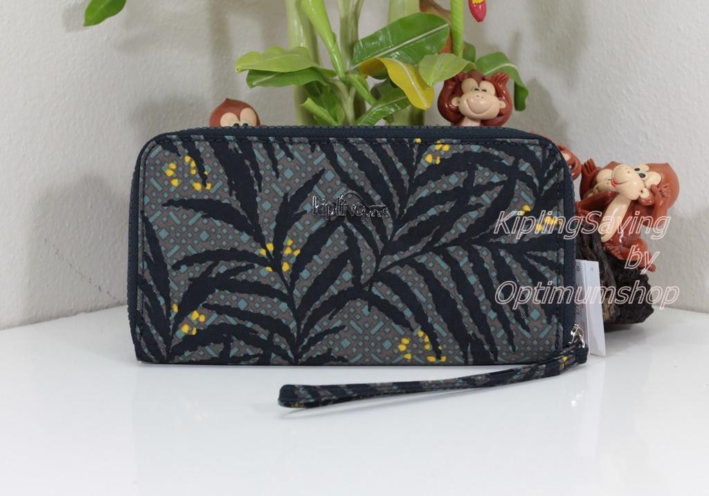 Kipling Alia Tropic Bloom กระเป๋าสตางค์แบบซิปรอบพร้อมสายคล้องมือ ขนาด 19 W x 10 D x 2 H cm