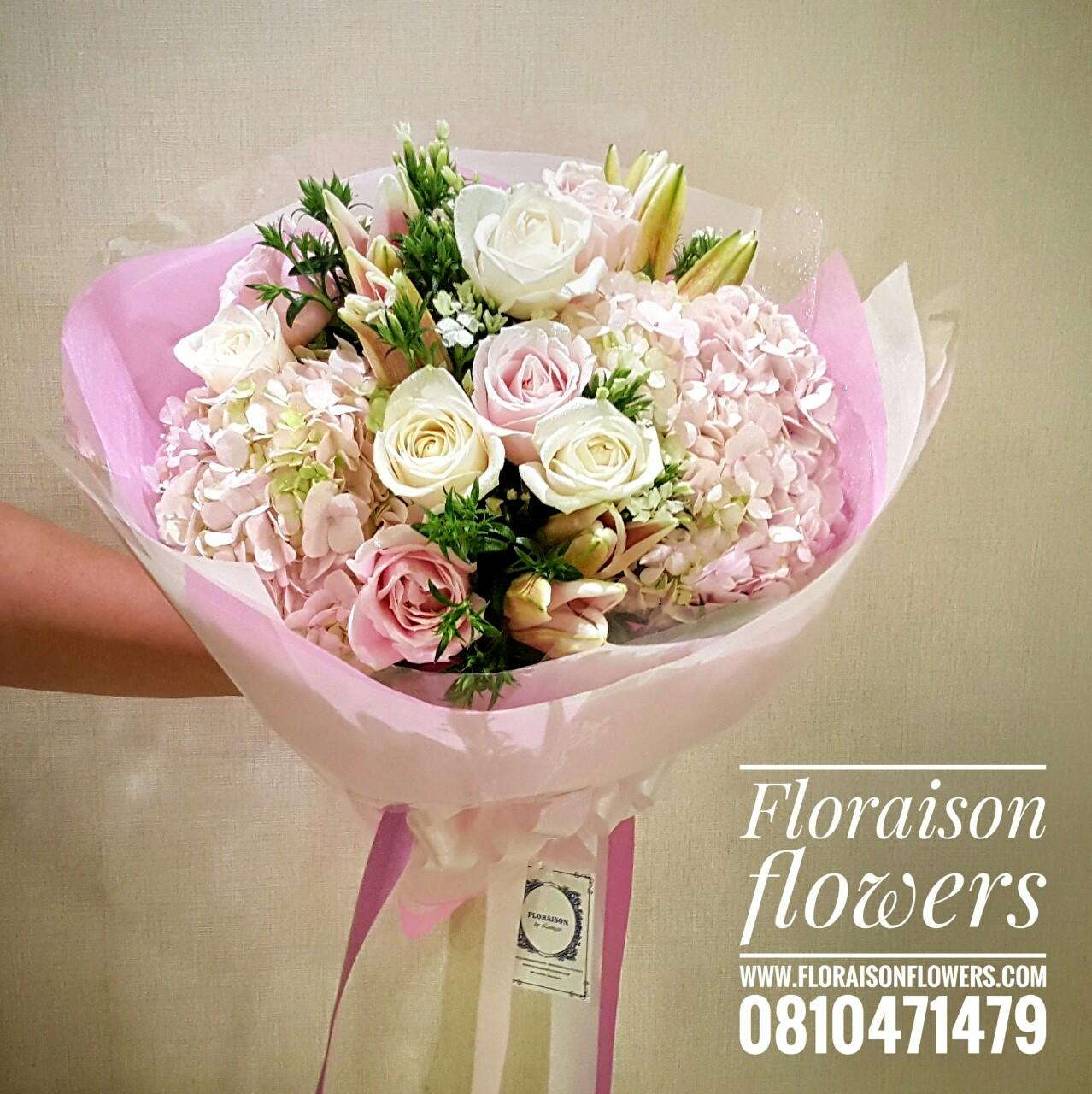ช่อดอกไม้ ไฮเดรนเยีย สีชมพู (M)