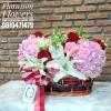 กระเช้าดอกไม้ ชมพู แดง ขาว (L)