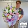 กระเช้าดอกไม้ ทรงสูง ม่วง ชมพู (XL)