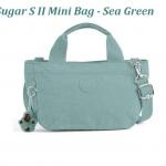 Kipling Sugar S II Sea Green กระเป๋าหิ้วกุ๊กกิ๊ก หรือสะพายน่ารัก ในรุ่นที่ 2 ขนาด L 11.5 x H 6.25 X D 6 นิ้ว