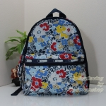 Lesportsac Essential Basic Backpack Ocean Blooms Navy กระเป๋าสะพายหลังขนาดพอเหมาะ ขนาด15 x 12.5 x 7.5 นิ้ว