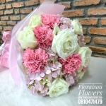 ช่อดอกไม้ ขาว ชมพูสด (M)