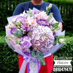 ช่อดอกไม้ ม่วง ชมพูซากุระ (L)
