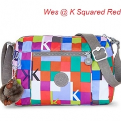 Kipling Wes K Squared Red กระเป๋าสะพายใบเล็ก ค่อนไปกลางๆ ขนาด L9 x H 6.25 W 5.5 นิ้ว